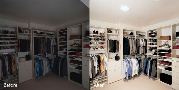 Dark closet illuminated by sun pipe installation