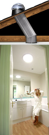 Light Tunnel Illuminating Bathroom